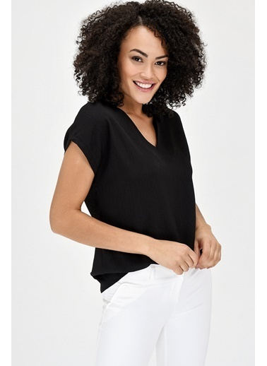 Jument V Yaka Kısa Kol Kadın Bluz - Siyah Siyah